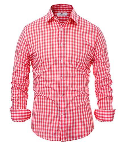 PaulJones Herren Trachtenhemden Slim Fit Hemd Trachten Langarm Kariert Business Freizeit Casual Hemd Oktoberfest Rot Large