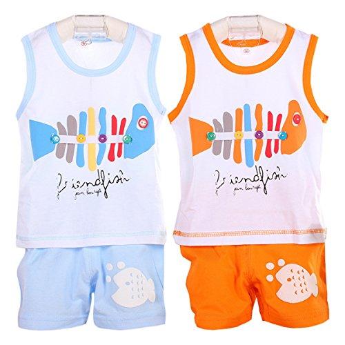 Packung mit 2 Sets Hikfly Baby Jungen Mädchen Bio Baumwolle Ärmellos Tops Weste T-Shirt und Shorts Set (F) (6-12 monate, Jungen) (Bio-baumwoll-t-shirt Schädel)