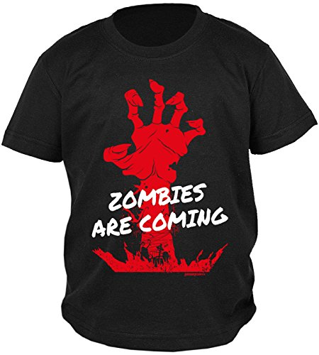 Jungs Lustige Kostüme (Kinder Halloween T-Shirt - Kindershirt Halloweenparty : Zombies are coming -- Kinder Tshirt Zombie Hand Monster Gr:)