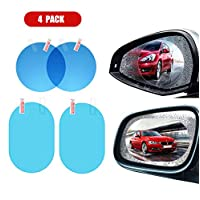 Xinyanmy 4Pcs Universal Car Rearview Mirror Protective Film, Anti-Fog Waterproof Rainproof Anti-Glare,2Pcs Oval+2pcs Round,Clear
