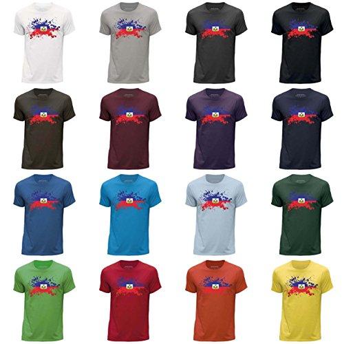 STUFF4 Men's Round Neck T-Shirt/Haiti/Haitian Flag Splat/CS