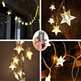 EchoSari 10.5 Meters 100 LEDs Star String Lights,Battery Operated Fairy Lights with Remote Timer,Outdoor Christmas Wedding Decoration Lights for Bedroom Tent RV BBQ Party Cafe Gazebo
