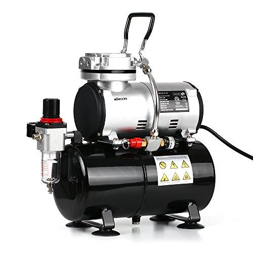 kkmoon Professional 1/6HP Kolben Replica Airbrush Kompressor oil-less leise Hochdruck Pumpe Tattoo Maniküre Sprühen Air Kompressor mit Tank 220–240V