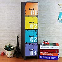 Ablerhome Decoration Tall Drawer Storage Cabinet Side Table Lamp Stand Distressed Multi Coloured Furniture (Multi Coloured)