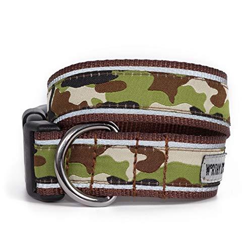 The Worthy Dog 21858-3982MD Camo Camouflage Pattern Adjustable Designer Pet Dog Collar, Brown, Medium (Dog Name Tag-camo)