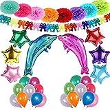 Decoración de Fiesta Arco Iris Niños Pom Poms Globos Delfín Estrellas Helio Gigante & Banner de Papel Mariposa con Látex Globos para Cumpleaños Fiestas