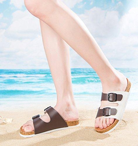 ZKOO Chaussons Femmes Chaussures de Plage Ete Peep-Toe Sangle Sandales Plat Chaussures Décontractée Marron Blanc