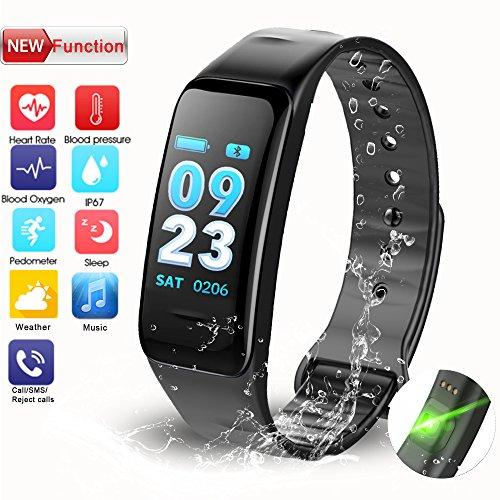 Inseguitore di fitness, Tracker di attività con pedometro Pressione sanguigna Frequenza cardiaca Monitoraggio del sonno Bluetooth Calorie chiamate SMS IP67 Impermeabile per bambini Donne Uomini Android Iphone