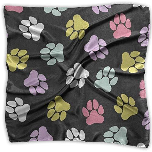 Square Scarf Cute Dog Paw Footprint Head & Neck Unisex Neck Head Tie For Women