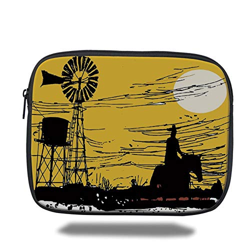 Outback Cross Body (Tablet Bag for Ipad air 2/3/4/mini 9.7 inch,Windmill Decor,Australian Outback Inspired Artwork Cowboy on Horse at Sunset,Earth Yellow Black White,3D Print)