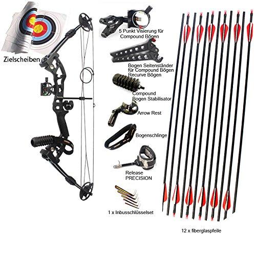 Verstellbare Compoundbogenset Jagdbogen Erwachsenen Bogenset 30-55lbs schwarz, für Rechtshänder