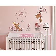 WandSticker4U - Vinilo de pared, diseño de osito rosa, 120x 60cm, diseño de osito con corazones, flores, mariposa, mariquitas, etc., vinilo desechable para dormitorio de niños o bebé