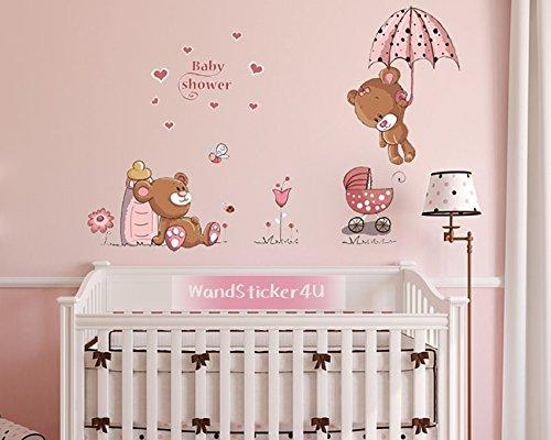 wandsticker4u-da-parete-baby-orsetto-in-rosa-immagine-effetto-120-x-60-cm-motivo-teddy-cuore-fiori-f