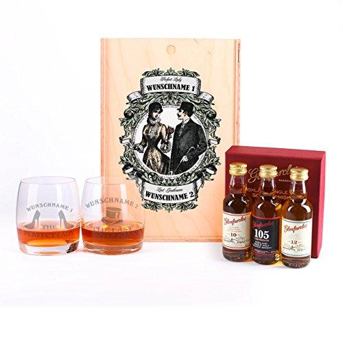 Privatglas Geschenkset GLENFARCLAS Whisky mit 2 gravierten Gläsern Lady and Gentleman