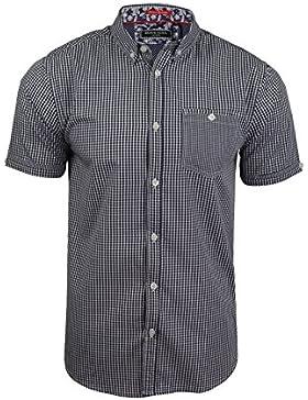 Brave Soul Camicia Casual - A quadri - Con bottoni - Maniche corte - Uomo