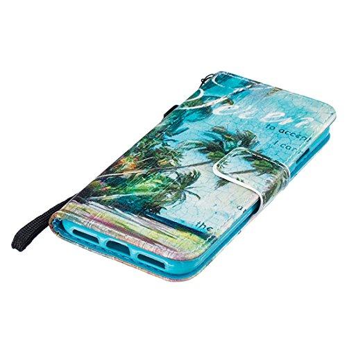 Portafoglio Custodia iPhone 7 Colore, Aeeque Barca a Vela Design Flip PU Pelle Wallet a Libro Stand Copertura Flip Cover Case Protettiva Antiurto da Esterno con Chiusura Magnetica Porta Carte di Credi Modello #34
