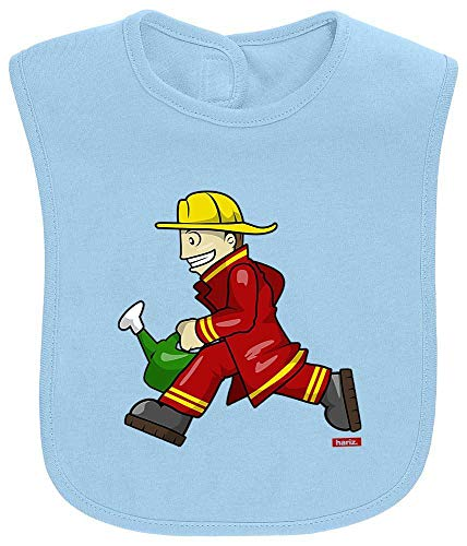 HARIZ Baby Lätzchen Feuerwehrmann Kanne Rennen Feuerwehr Lustig Inkl. Geschenk Karte Himmel Hell Blau