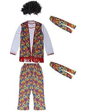 BESTOYARD Unisex 70er Jahre 1960er Jahre Kleidung Retro Hippie Men Disco Kostüm Set mit Perücke für Laua Party...