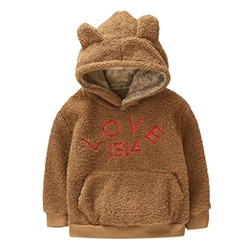 Livoral Kinder Winter Mantel Kinder Baby Boy Girl Winter Mäntel Jacke dicken Schneeanzug Hoodie Fleece Kleidung(Braun,X-Large)