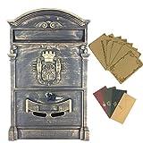 yahead exterior buzón Retro Vintage Europea caja de aluminio montado en la pared caja de correos–buzón seguro fuera buzones con 8pcs Retro escritura papelería papel y 4pcs sobres