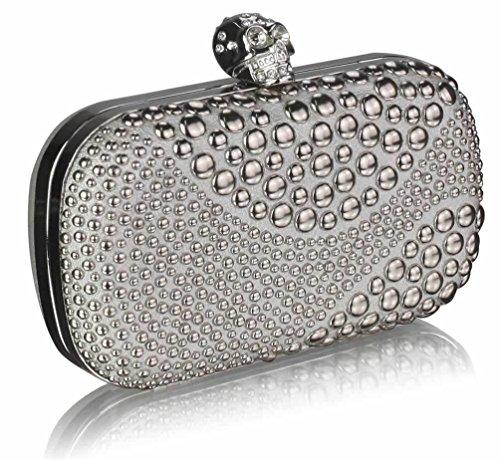 TrendStar Abschlussball Feld Damen Abend Party Unterarmtasche Schultertaschen Geldbörsen Perlen Silber