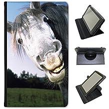 Superbe magnifique étalon blanc Chevaux Fancy A Snuggle Étui en similicuir avec support de visionnage pour tablettes Google Google Nexus 7 2013 LOL Funny Laughing Horse