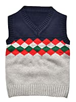 EOZY Boys Knitted Cotton Sweater Vest Jumper Sleeveless Plaid Tops Navy Size130