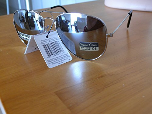 Sonnenbrille Sehstärke, polarisiert Sport verspiegelte Piloten Aviator Polarisierte Herren Damen 8AF101, monture Argent verres miroir