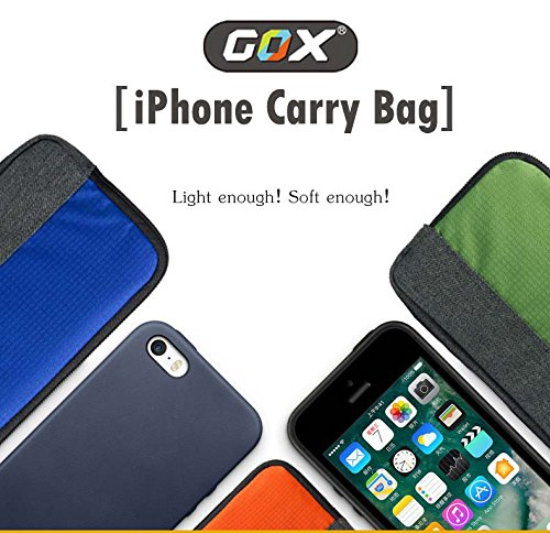 iPhone 7 Plus Case Sleeve, GOX Waterproof Shockproof 6 inch Cushion Protective Case Sleeve Carrying Pouch Bag Protective Case Cover Dual Zipper Handbag for Apple iPhone 7/7 Plus/6S/6S Plus (Sapphire) Orange