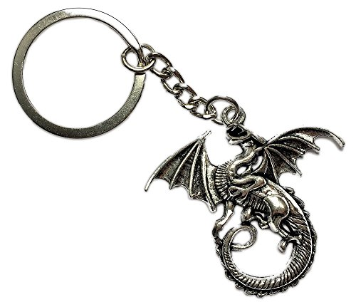 Loke Battlemats Llavero o monedero de dragón en metal blanco