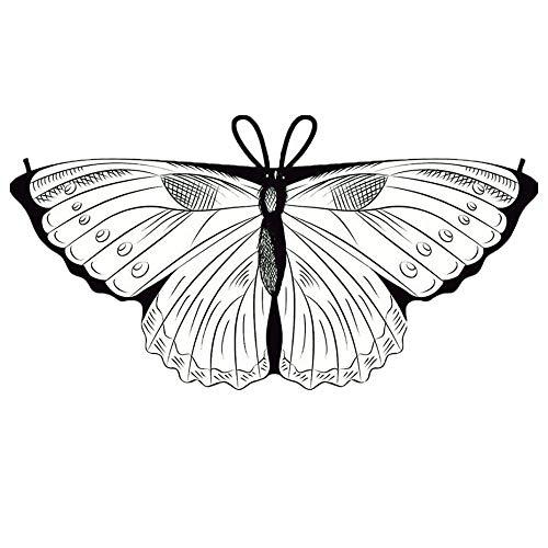 (YWLINK Kind Bunt Chiffon Karneval Schmetterling Flügel Creative Manuell DIY Graffiti Schal Jungen MäDchen Cosplay ZubehöR Weihnachten Halloween FlüGel Umhang HüBsch(118x48CM,D))