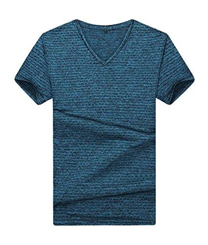 Männlich Sommer Losen T-Shirts Einfach Und Elegant Groß V-Ausschnitt Gestreift Kurzarm-T-Shirt Blue