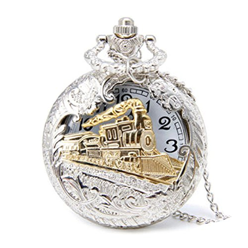 Profusion Circle, reloj de bolsillo de cuarzo con diseño retro de tren de vapor sobre la tapa hueca...