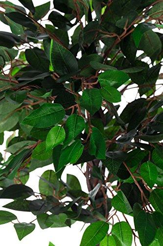 Sarah B XXL Ficus Benjamini JWT005 Riesiger künstlicher mit Echtholzstamm grüner Ficus Benjamin 160 cm hoch, Kunstpflanze, Kunstblume, Kunstbaum, Zimmerpflanze künstlich