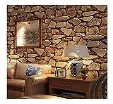 Wallpaper Retro 3D Ziegelstein-Tapeten-nachgemachter Stein-harte schalldämmende Feuchtigkeit antistatische Wohnzimmer-Hintergrundwandbekleidung (ohne Kleber) , 1