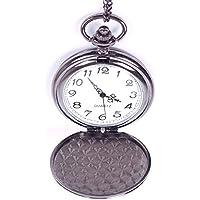 JaneDream Classic Black Full-Hunter White Dial Vintage Steel Man Pocket Watch Chain 80cm