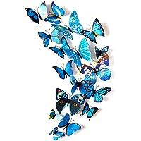 12Pcs Adhesivos Pegatinas de Mariposa 3D, Mariposas Etiquetas Engomadas Decoración de La Pared para Hogar, Casa, Habitación, Salón, Café Color Azul