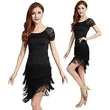 Vestido de danza latina con flequillos BellyQueen, color negro, tamaño Large