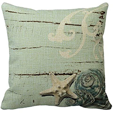Romantichouse Cotton Linen Square Decorative Romantic Elegant Blue Seashell Beach Decor Throw Pillowcases