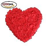 Ndier 2200 STÜCKE Seide Große Rote Rosenblätter für Hochzeit Blumen Dekoration Künstliche Rote Rose Blütenblätter für Hochzeit Vase Wohnkultur Weihnachten Blume Dekoration