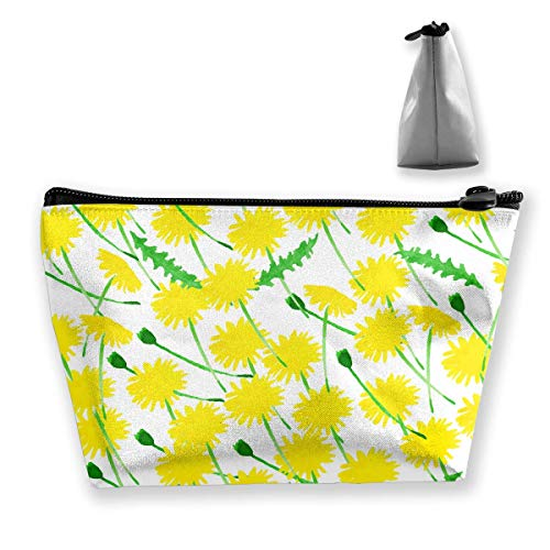 Yellow Daisy Makeup Bag Large Trapezoidal Storage Travel Bag Wash Cosmetic Pouch Pencil Holder Zipper 1 Lazy Daisy