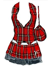 Womens Red Tartan Waistcoat Pleated Tutu Pouch Burns Night fancy dress