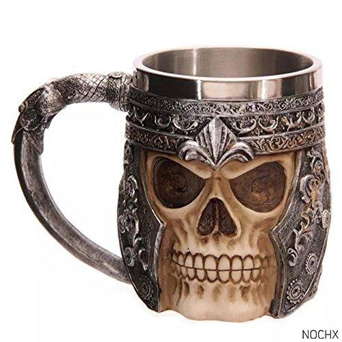 Edelstahl Totenkopf Kaffee Tasse Viking Totenkopf Bier Becher Tasse Geschenk für Herren, 16x 8,5x 11cm Zoll, 1PC Art Deco C (Beste Halloween-zitate Und Sprüche)
