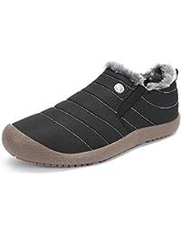 SAGUARO Herren Damen Winterschuhe Warm Gefüttert Winter Stiefel Kurz Schnür Boots Schneestiefel Outdoor Freizeit Schuhe,Schwarz 38