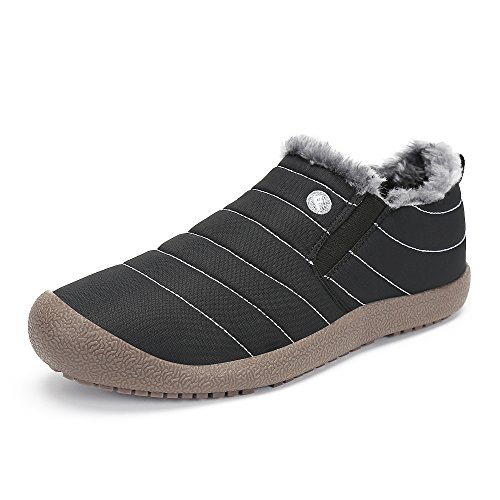 SAGUARO® Herren Damen Winterschuhe Warm Gefütterte Boots Stiefelette Outdoor Schneestiefel Winter Schuhe,Low top schwarz,42 EU