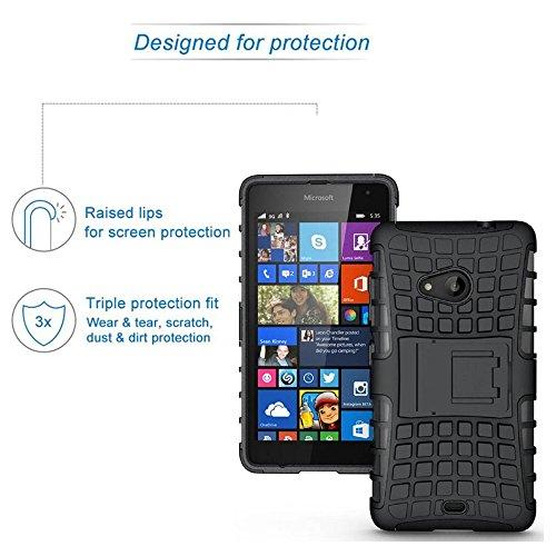 ROXEL Shockproof Back Cover for Microsoft Lumia 535 Hybrid Kickstand Back Case Defender Cover - Black
