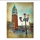 Knncch Europeo Retro Pintura De La Lona Nostálgico Paisaje De Venecia Carteles Sala De Estar Arte De La Pared Decoración Del Hogar Vintage Picture Print