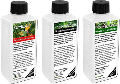 Tropengarten Dünger Set mit 3 Profi Flüssigdüngern für Palmen-, Strelizien- und Bananenpflanzen