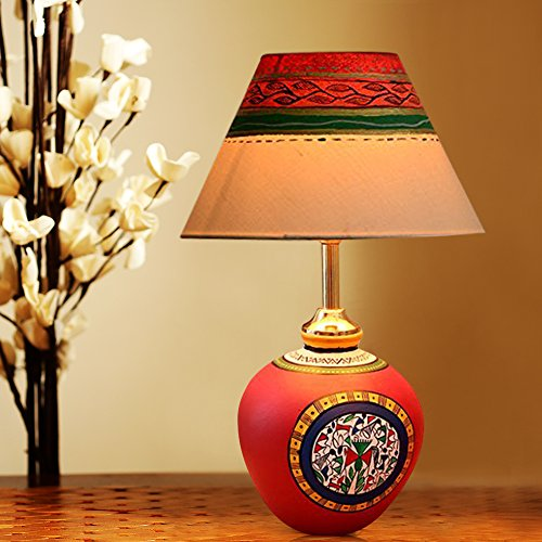 Terracotta handpainted warli red matki lamp - Table Lamp Night Lamp Table For Living Room table lamps for bedroom modern