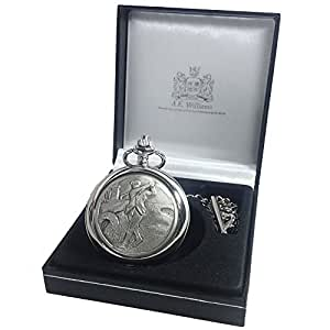 Retirement Gift, Engraved Mother of Pearl Face Pocket Watch with Pewter Golfer Case in a Gift Box